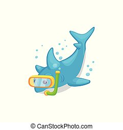 Cartoon shark scuba diving underwater - isolated sea animal swimming in the ocean with diver snorkel mask