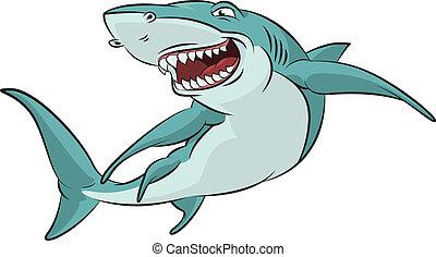 Vector image of funny cartoon smiling shark