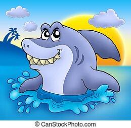 Cartoon shark with sunset