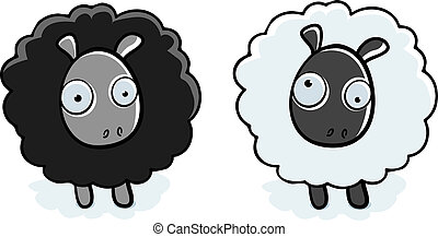 Cartoon Sheep - A cartoon black sheep and white sheep...