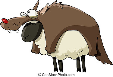 Cartoon sheep - A sheep in wolf's clothing, vector...