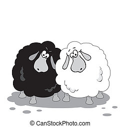 Cartoon sheep. Black and white illustration.