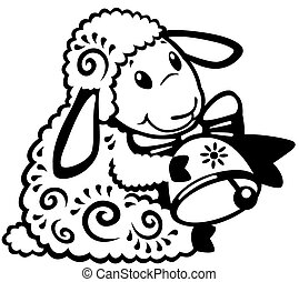 cartoon sheep black white