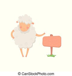 Cartoon sheep character standing near wooden signboard. Funny domestic animal with fluffy wool. Flat vector design for poster, banner or postcard