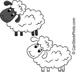 Cartoon sheep. Coloring book