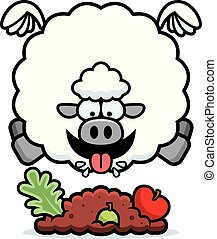Cartoon Sheep Eating - A cartoon illustration of a sheep...