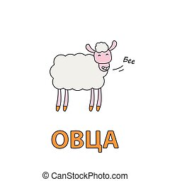 Cartoon Sheep Flashcard for Children