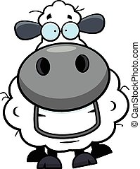 Cartoon Sheep Grinning