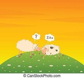 cartoon sheep sleeps on a grass