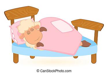 cartoon sheep sleeps