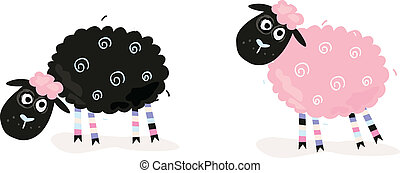 Vector Illustration of funny sheep. In 2 color variants.