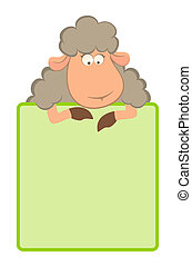 cartoon sheep with green frame