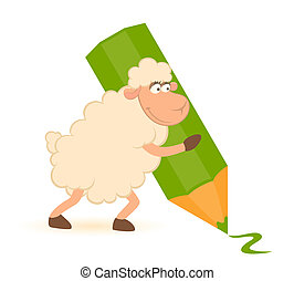 Cartoon sheep with green pencil on white background