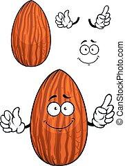 Cartoon shelled almond nut character - Funny cartoon almond...