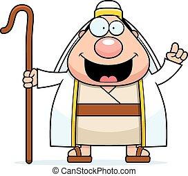A cartoon illustration of a shepherd with an idea.