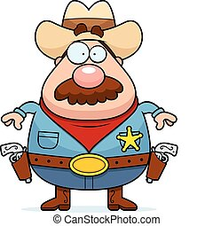 A cartoon sheriff standing with guns holstered.