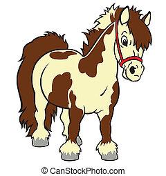 cartoon shetland pony - little horse shetland pony , cartoon...