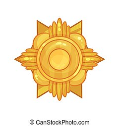 Cartoon shiny golden military medal or badge for bravery or...