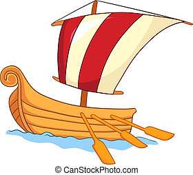 Cartoon Ship - Cartoon Illustration Ship Isolated on White...
