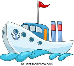 Cartoon Illustration Ship Isolated on White Background. Vector.