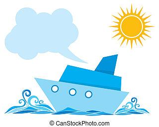 Cartoon ship on the sea