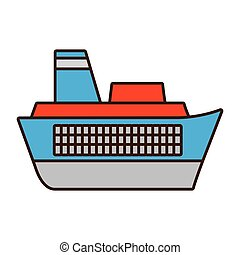 cartoon ship travel maritime
