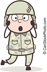 Cartoon Shocked Army Sergeant Expression Vector Illustration