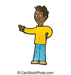 cartoon shocked boy pointing