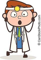 Cartoon Shocked Doctor Expression Vector Illustration