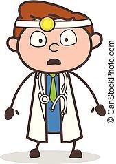 Cartoon Shocked Doctor Face Expression Vector Illustration
