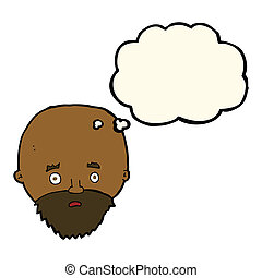 cartoon shocked man with beard with thought bubble