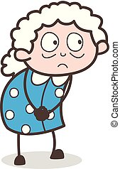 Cartoon Shocked Old Woman Face Expression Vector Illustration