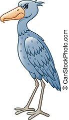 Cartoon shoebill isolated on white background