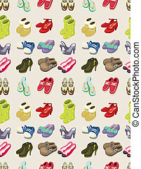 cartoon shoes set seamless pattern