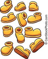 Cartoon shoes - Yellow cartoon shoes. Vector clip art...