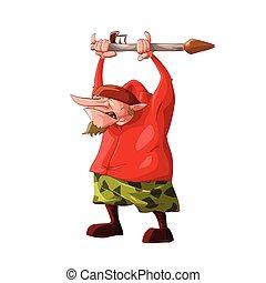 Cartoon short rebel / separatist fighter - Colorful vector...