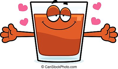 A cartoon illustration of a shot of whiskey ready to give a hug.