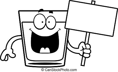 A cartoon illustration of a shot of whiskey holding a sign.