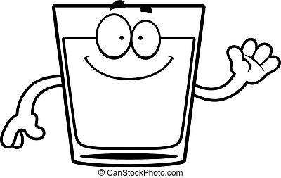 A cartoon illustration of a shot of whiskey waving.