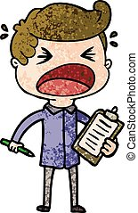 cartoon shouting salesman