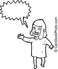 cartoon shouting woman