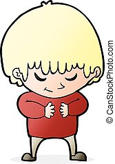 cartoon shy boy