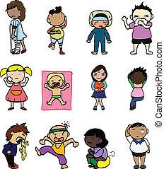 Cartoon Sick Character - illustration Feel unwell kids