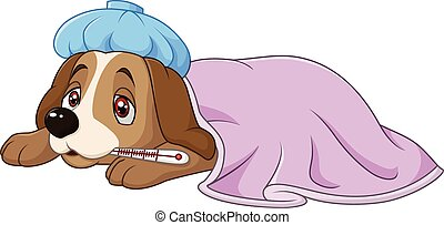 Cartoon sick dog with ice bag - Vector illustration of...