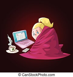 Cartoon sick girl with blanket