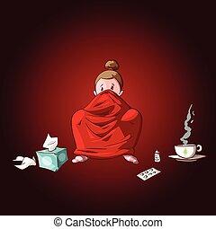 Cartoon sick girl with blanket