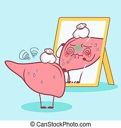 cartoon sick liver look in the mirror