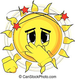 Cartoon sick sun holding his nose because of a bad smell.