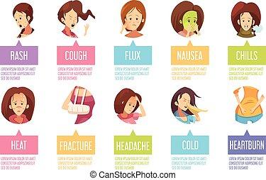 Cartoon Sickness Woman Icon Set
