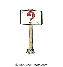 cartoon signpost with question mark